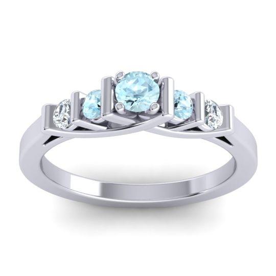 Aquamarine Petite Sapallava Ring with Diamond in Palladium