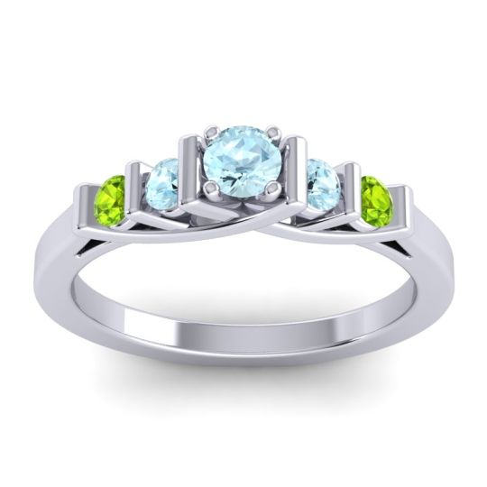 Aquamarine Petite Sapallava Ring with Peridot in Palladium