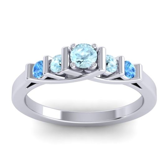 Aquamarine Petite Sapallava Ring with Swiss Blue Topaz in Platinum