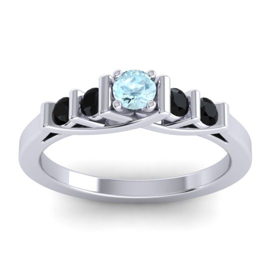 Aquamarine Petite Sapallava Ring with Black Onyx in 14k White Gold