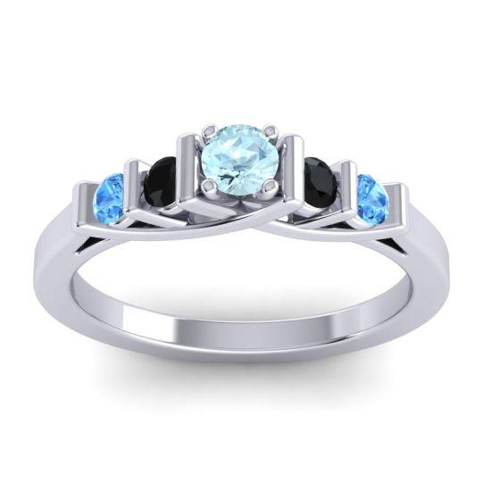 Aquamarine Petite Sapallava Ring with Black Onyx and Swiss Blue Topaz in 18k White Gold