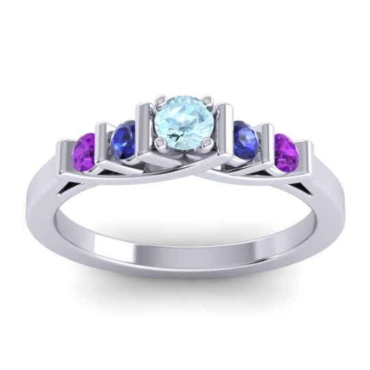 Aquamarine Petite Sapallava Ring with Blue Sapphire and Amethyst in 18k White Gold