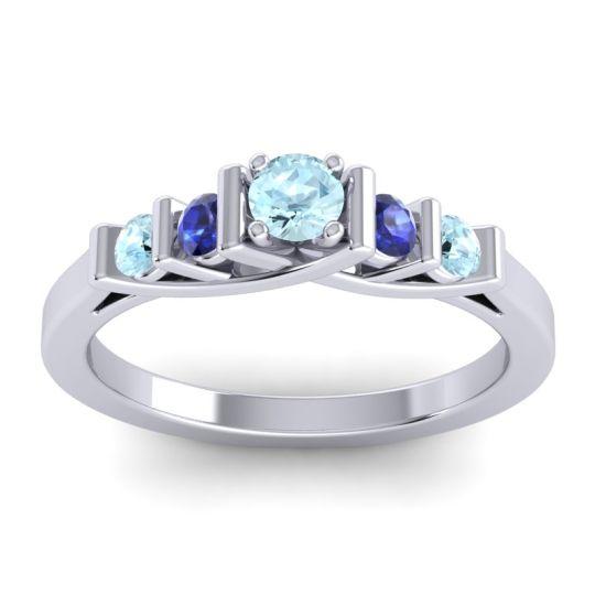 Aquamarine Petite Sapallava Ring with Blue Sapphire in 18k White Gold