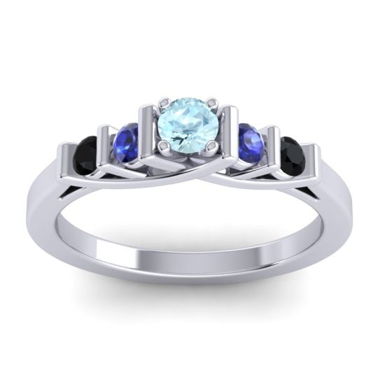 Aquamarine Petite Sapallava Ring with Blue Sapphire and Black Onyx in 18k White Gold