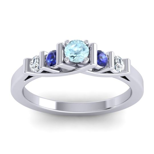 Aquamarine Petite Sapallava Ring with Blue Sapphire and Diamond in Palladium