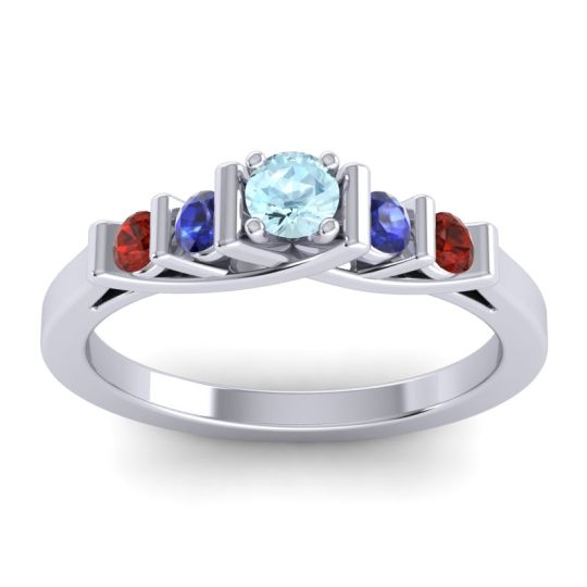 Aquamarine Petite Sapallava Ring with Blue Sapphire and Garnet in 18k White Gold