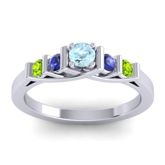 Aquamarine Petite Sapallava Ring with Blue Sapphire and Peridot in 14k White Gold