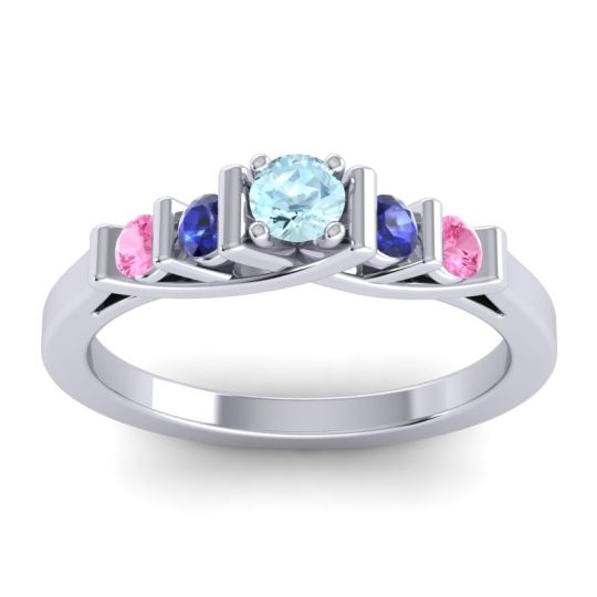 Aquamarine Petite Sapallava Ring with Blue Sapphire and Pink Tourmaline in 18k White Gold