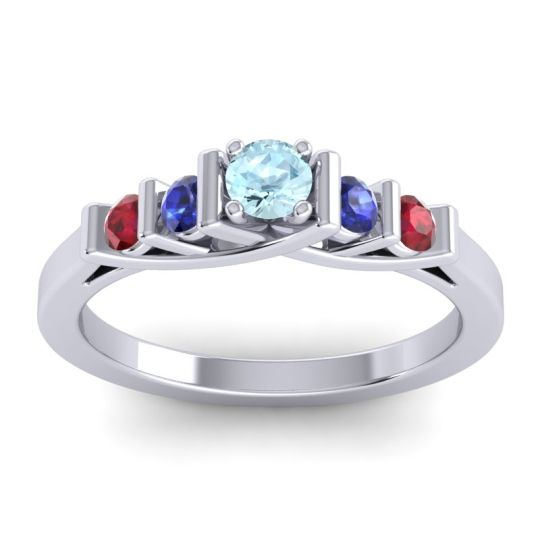 Aquamarine Petite Sapallava Ring with Blue Sapphire and Ruby in 14k White Gold