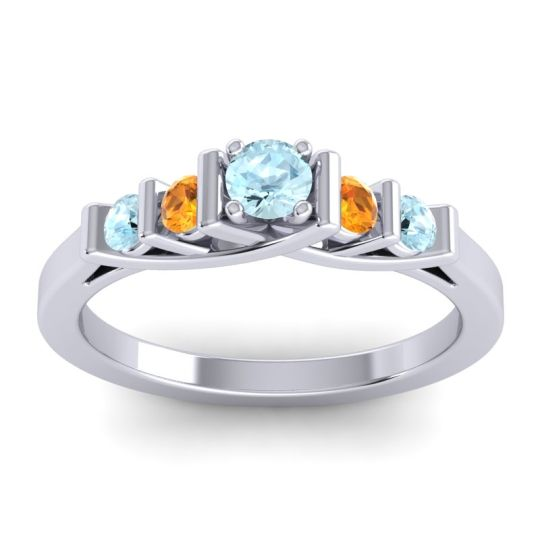 Aquamarine Petite Sapallava Ring with Citrine in Palladium