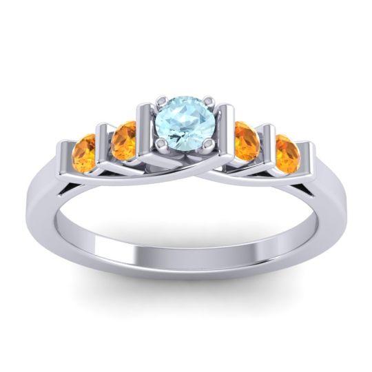 Aquamarine Petite Sapallava Ring with Citrine in Platinum