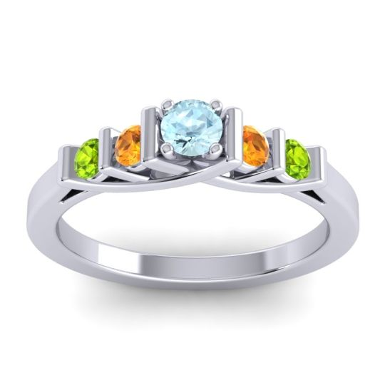 Aquamarine Petite Sapallava Ring with Citrine and Peridot in 18k White Gold