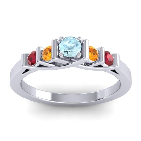 Aquamarine Petite Sapallava Ring with Citrine and Ruby in 18k White Gold