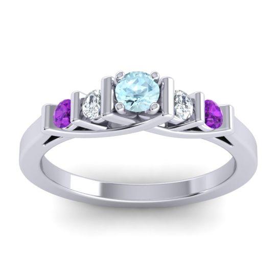 Aquamarine Petite Sapallava Ring with Diamond and Amethyst in Palladium