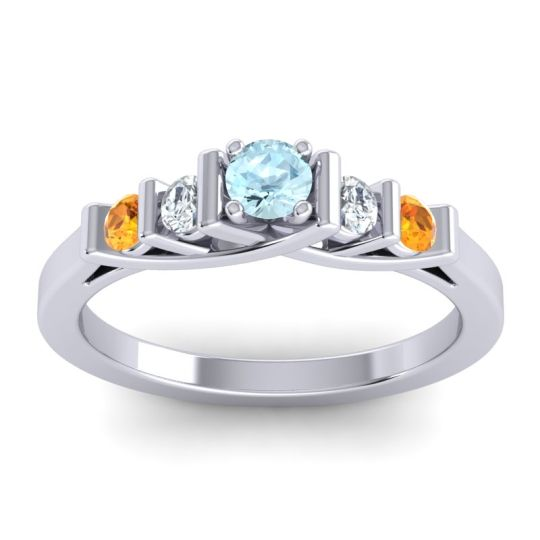 Aquamarine Petite Sapallava Ring with Diamond and Citrine in 18k White Gold