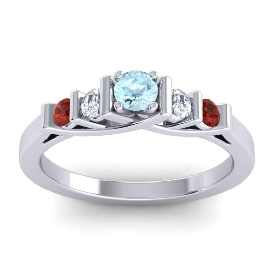 Aquamarine Petite Sapallava Ring with Diamond and Garnet in 18k White Gold