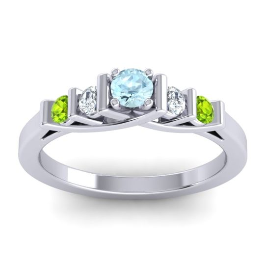 Aquamarine Petite Sapallava Ring with Diamond and Peridot in Platinum