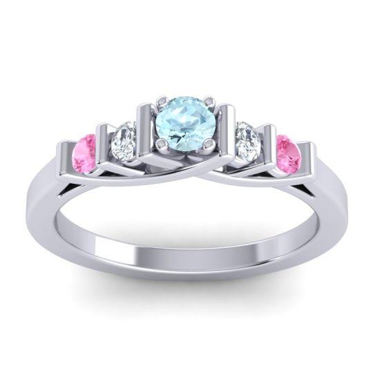 Aquamarine Petite Sapallava Ring with Diamond and Pink Tourmaline in Platinum