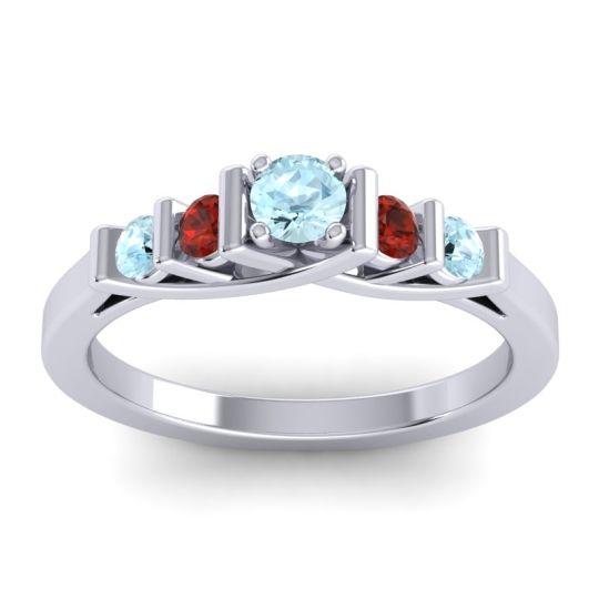 Aquamarine Petite Sapallava Ring with Garnet in 18k White Gold