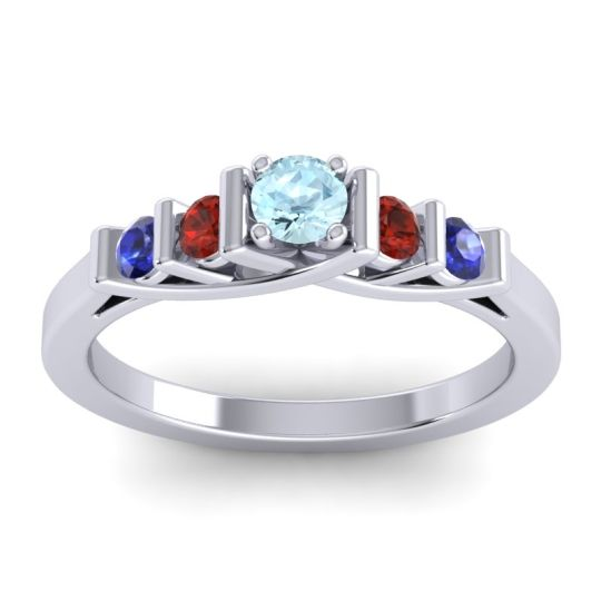 Aquamarine Petite Sapallava Ring with Garnet and Blue Sapphire in Palladium