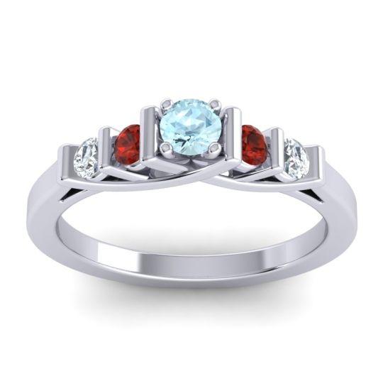 Aquamarine Petite Sapallava Ring with Garnet and Diamond in Platinum