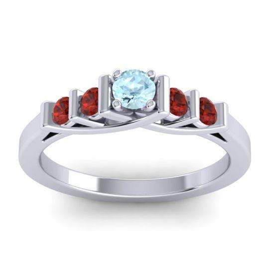 Aquamarine Petite Sapallava Ring with Garnet in Platinum