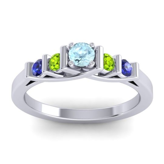 Aquamarine Petite Sapallava Ring with Peridot and Blue Sapphire in 18k White Gold