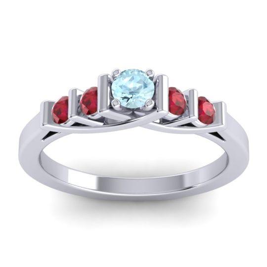 Aquamarine Petite Sapallava Ring with Ruby in Platinum