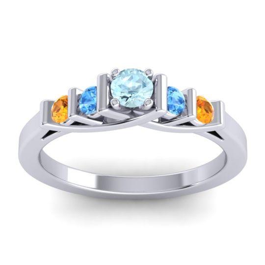 Aquamarine Petite Sapallava Ring with Swiss Blue Topaz and Citrine in 14k White Gold
