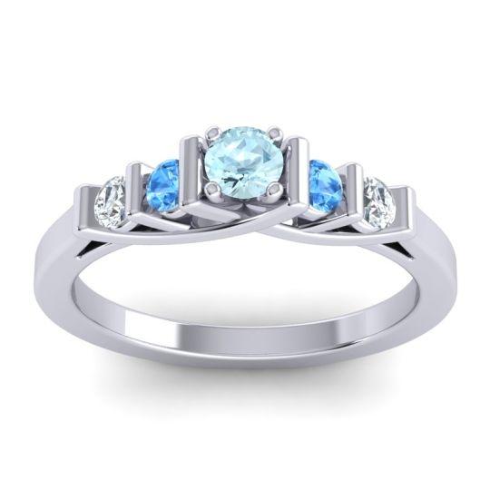Aquamarine Petite Sapallava Ring with Swiss Blue Topaz and Diamond in Platinum