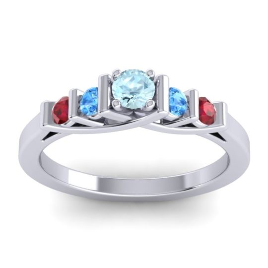 Aquamarine Petite Sapallava Ring with Swiss Blue Topaz and Ruby in 18k White Gold