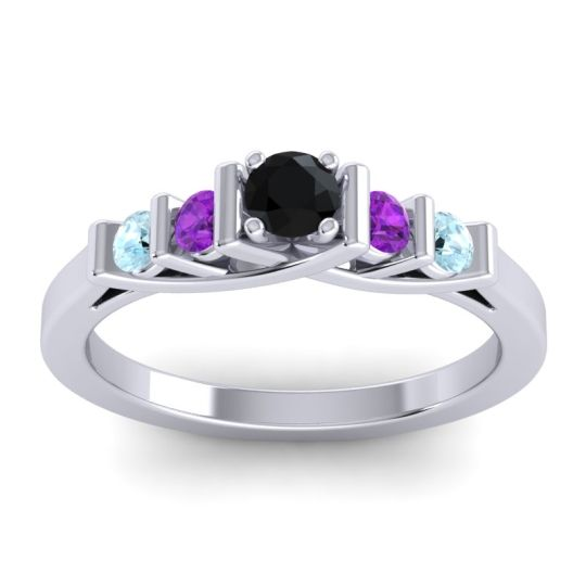 Black Onyx Petite Sapallava Ring with Amethyst and Aquamarine in Palladium