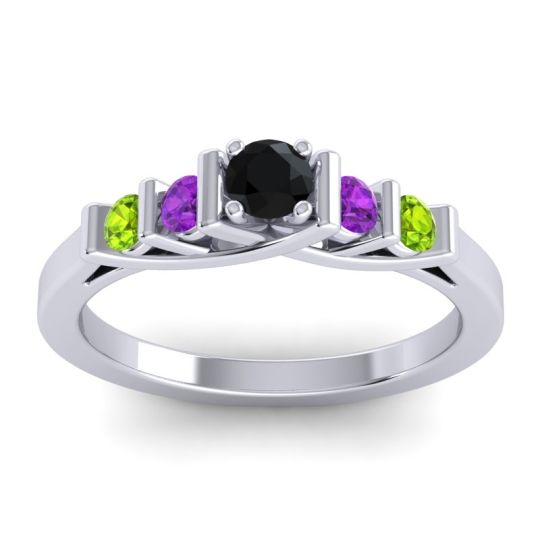 Black Onyx Petite Sapallava Ring with Amethyst and Peridot in 14k White Gold