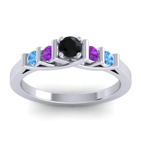 Black Onyx Petite Sapallava Ring with Amethyst and Swiss Blue Topaz in Platinum