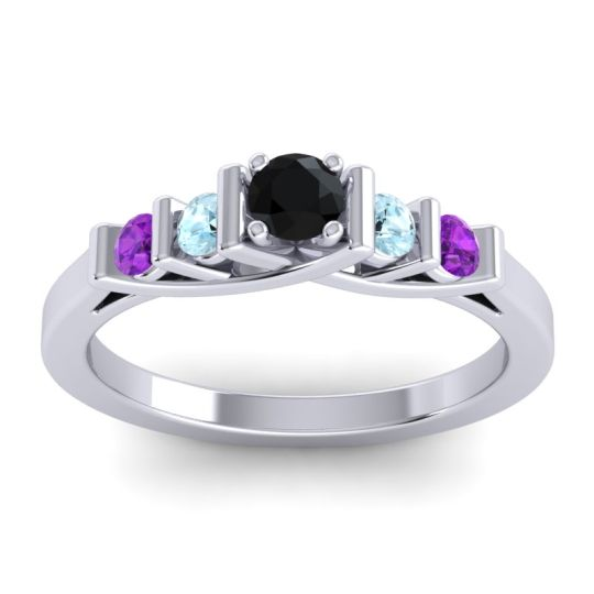 Black Onyx Petite Sapallava Ring with Aquamarine and Amethyst in 14k White Gold