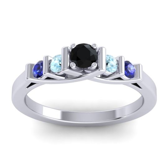Black Onyx Petite Sapallava Ring with Aquamarine and Blue Sapphire in 18k White Gold