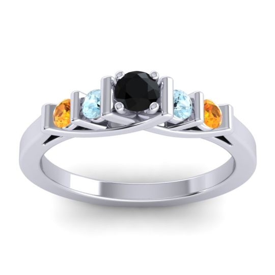 Black Onyx Petite Sapallava Ring with Aquamarine and Citrine in 18k White Gold