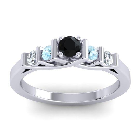 Black Onyx Petite Sapallava Ring with Aquamarine and Diamond in Palladium