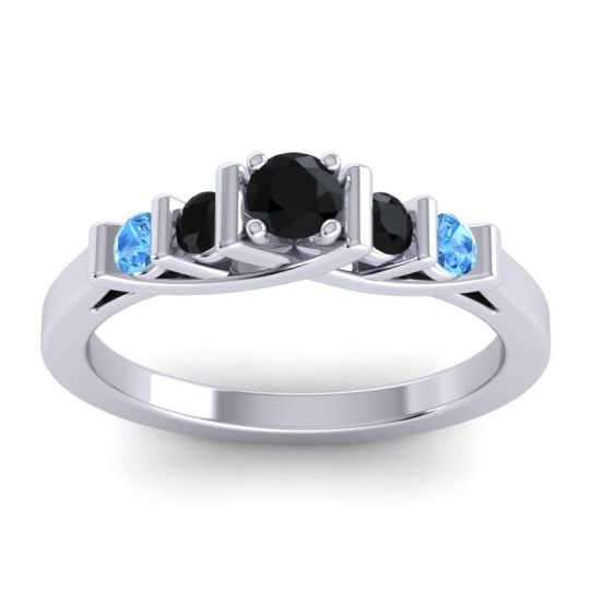 Black Onyx Petite Sapallava Ring with Swiss Blue Topaz in 18k White Gold