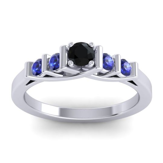 Black Onyx Petite Sapallava Ring with Blue Sapphire in 14k White Gold