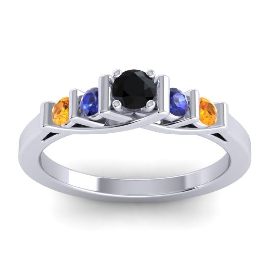 Black Onyx Petite Sapallava Ring with Blue Sapphire and Citrine in 18k White Gold