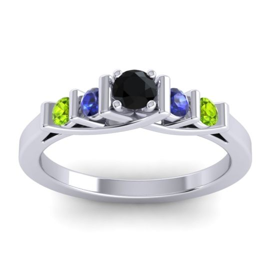 Black Onyx Petite Sapallava Ring with Blue Sapphire and Peridot in 18k White Gold