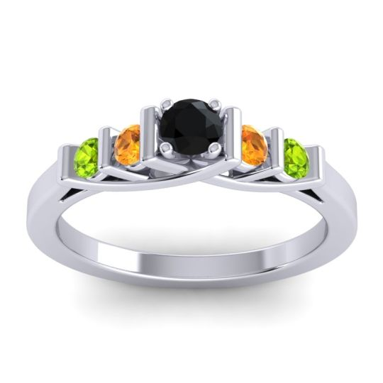 Black Onyx Petite Sapallava Ring with Citrine and Peridot in Platinum