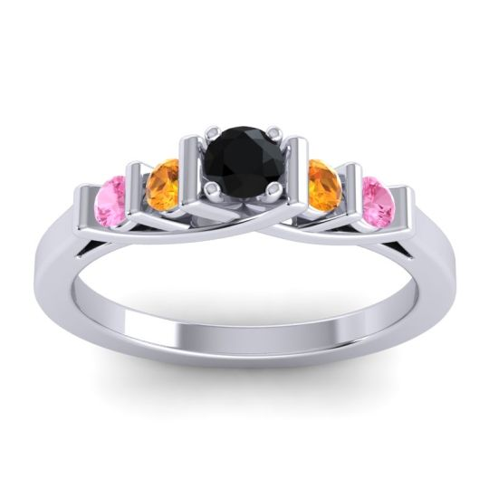 Black Onyx Petite Sapallava Ring with Citrine and Pink Tourmaline in 14k White Gold