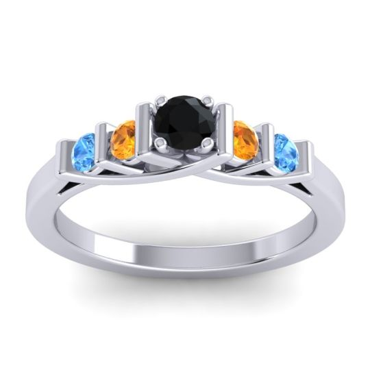 Black Onyx Petite Sapallava Ring with Citrine and Swiss Blue Topaz in 14k White Gold