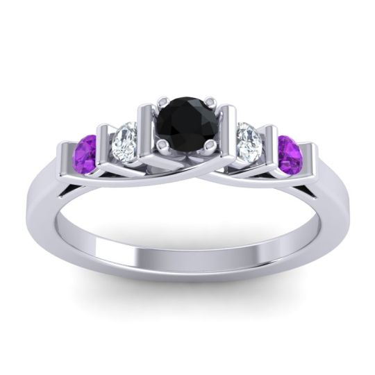 Black Onyx Petite Sapallava Ring with Diamond and Amethyst in 18k White Gold