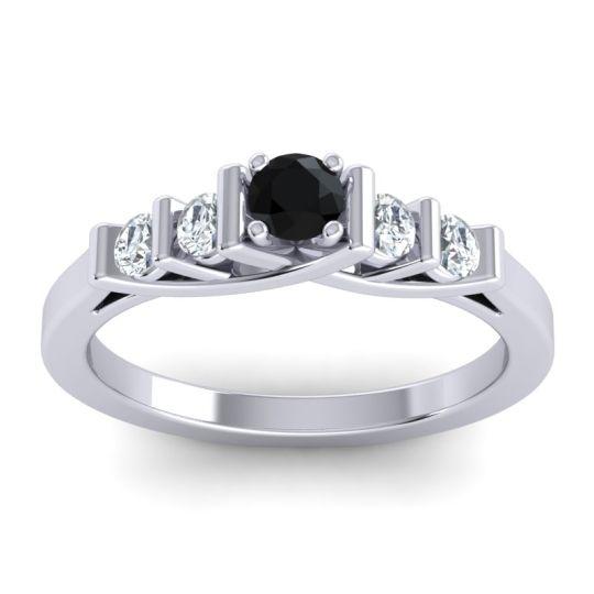 Black Onyx Petite Sapallava Ring with Diamond in 14k White Gold
