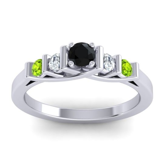 Black Onyx Petite Sapallava Ring with Diamond and Peridot in 18k White Gold