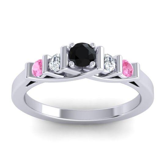 Black Onyx Petite Sapallava Ring with Diamond and Pink Tourmaline in Palladium