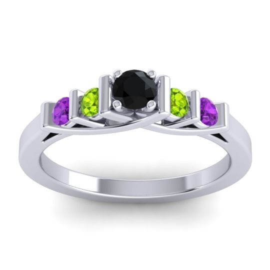 Black Onyx Petite Sapallava Ring with Peridot and Amethyst in 14k White Gold